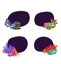 set of stickers masks and party vector image