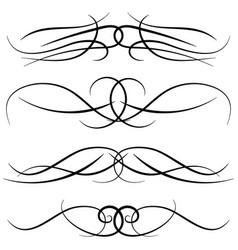 Set vintage decorative curls vector