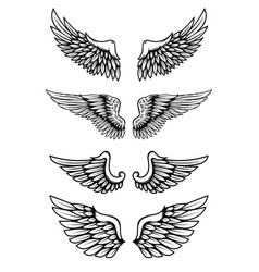 Set wings in tattoo style isolated on white vector