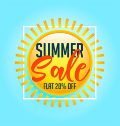 shiny sun summer sale background vector image