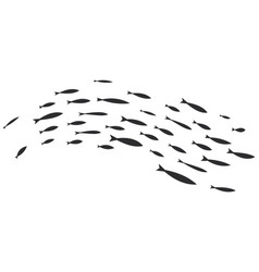 Silhouettes of groups of sea fishes colony vector