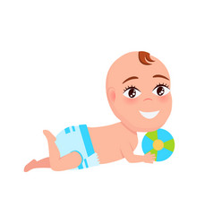 Smiling baby infant in diaper playing color ball vector
