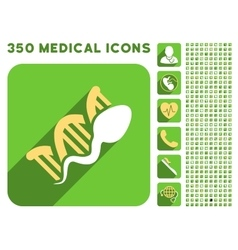 Sperm Replication Icon and Medical Longshadow Icon vector