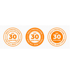 spf 30 sun protection uva and uvb icons spf 30 vector image