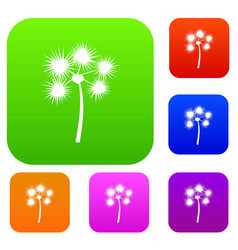 Spiny tropical palm tree set collection vector