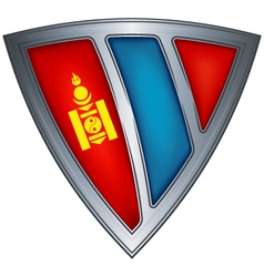 steel shield with flag mongolia vector image