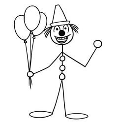 Stickman cartoon of party circus clown buffoon vector
