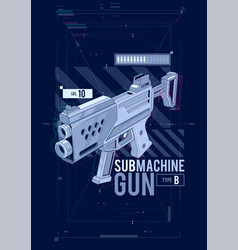 sub machine gun hud design vector image