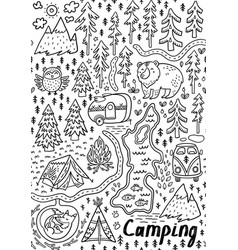 summer camp and national park seamless pattern vector image