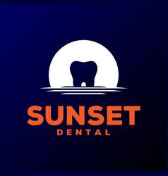 sunset sunrise dent tooth dental logo design vector image
