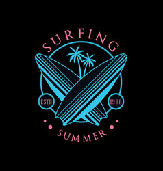 Surfing summer logo estd 1986 design element can vector