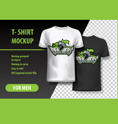 T-shirt mockup with brothers and skull phrase vector