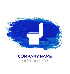 Toilet icon - blue watercolor background vector