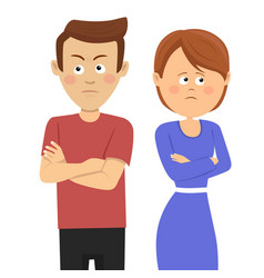 Unhappy couple having marital problems vector