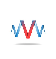 V - red letter of the blue ribbon logo idea vector