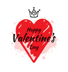 valentine s day card design with heart slogan vector image