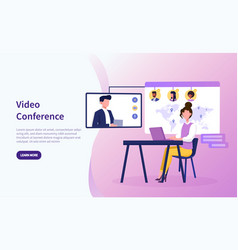 Video conference theme and people in online call vector