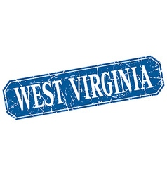 West virginia blue square grunge retro style sign vector
