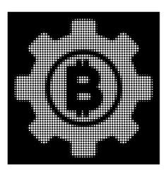 White halftone bitcoin development gear icon vector