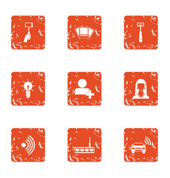 Wireless lifestyle icons set grunge style vector