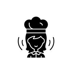woman cook black icon sign on isolated vector image