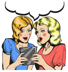 Women surprised holding tablet comic style vector