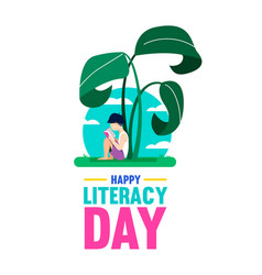 world literacy day poster for children education vector image