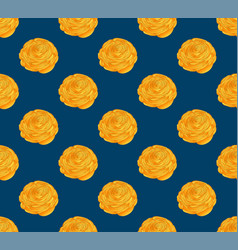 Yellow ranunculus on indigo blue background vector