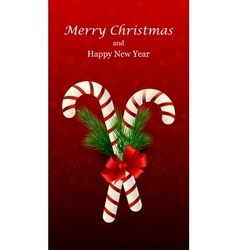 Christmas candy cane decorated with a bow and tree vector image