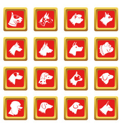 Dog icons set red vector