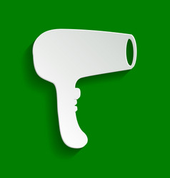 hair dryer sign paper whitish icon with vector image vector image