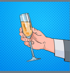 Male hand holding glass champagne wine pop art vector