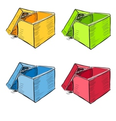 Open box in many colors set vector image vector image