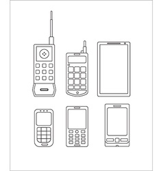 Phone evolution icons linear communication vector
