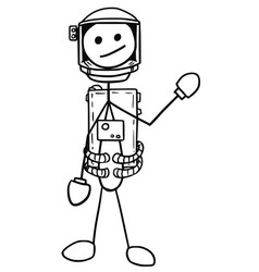 stickman cartoon of astronaut in the spacesuit vector image