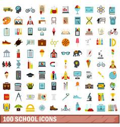 100 school icons set flat style vector image