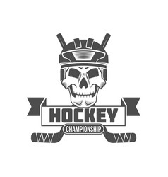 hockey logo badge design elements vector image