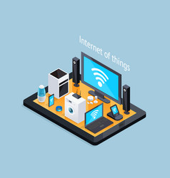 internet of things isometric poster vector image vector image