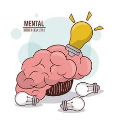 Mental health human brain bulb idea innovation vector