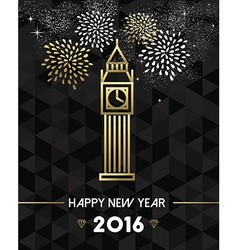 New Year 2016 london uk europe travel gold vector image vector image