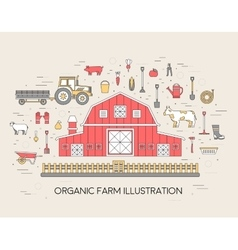 Organic farm in village set and tile in thin lines vector image vector image