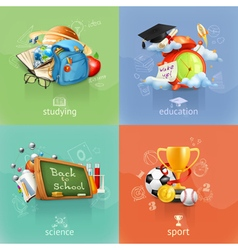 School concepts set vector image