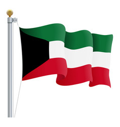 waving kuwait flag isolated on a white background vector image