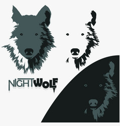 wolf bolt emblem mascot head silhouette vector image vector image