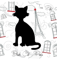 Black cat and Paris vector image