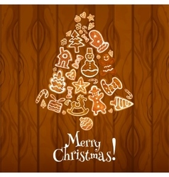 Christmas bell with gingerbread on wooden texture vector