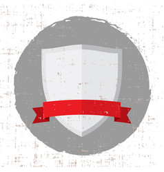 empty silver shield icon with red banner and vector image