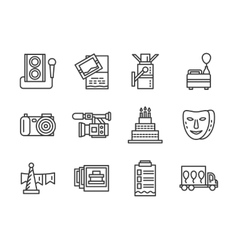 Event agency black simple line icons set vector image vector image