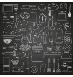 home kitchen tools and food outline icon on vector image