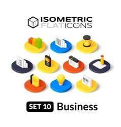 Isometric flat icons set 10 vector image vector image